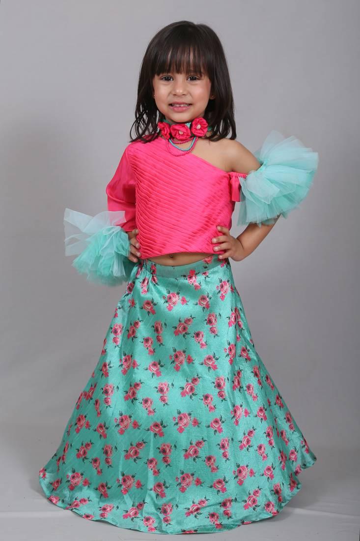 Pink Printed Art Silk Kids Lehenga Choli Varsha Showering Trends 2825711