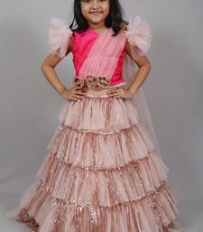Pink embroidered art silk kids-frocks