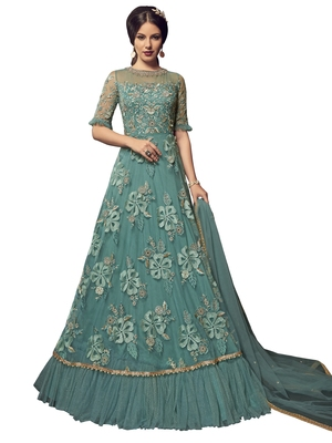 Teal embroidered net salwar with dupatta