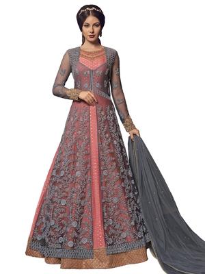 Grey embroidered net salwar with dupatta
