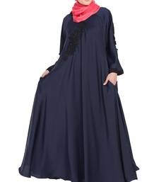 Nida Embroidered Patch Umbrella Navy Abaya