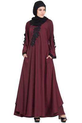Maroon Embroidered Patch Nida Umbrella Abaya