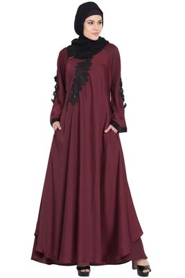 Maroon embroidered patch Nida Umbrella Abaya