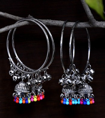 Silver Plated Two Pairs of Designer Bangles with Multiple Hanging Jhumkis and Bells