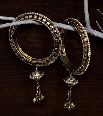 Gold Plated Zircon Stone and Seed Pearls Embellished Pair of Bangles with Hanging Bells