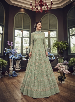 Green embroidered net anarakali gown with dupatta