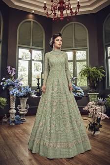 44bd377224f Green embroidered net salwar with dupatta