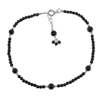Black crystal anklets