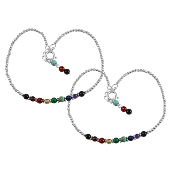 Multicolor crystal anklets