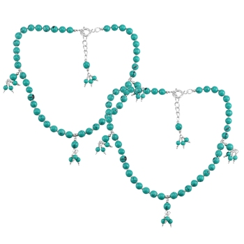 Blue turquoise anklets