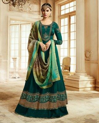 Dark Green Embroidered Silk Salwar With Dupatta