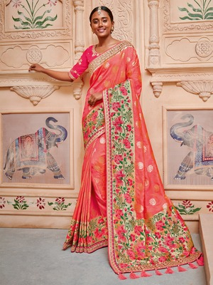 Coral Embroidered Silk Blend Saree With Blouse
