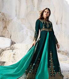 Designer Turquoise Embroidered Long Anarkali Suit