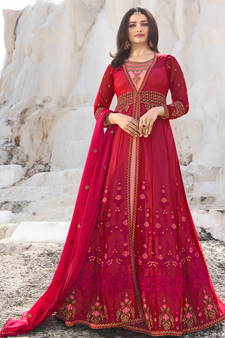 873e800cc2 Designer Pink Embroidered Long Anarkali Suit