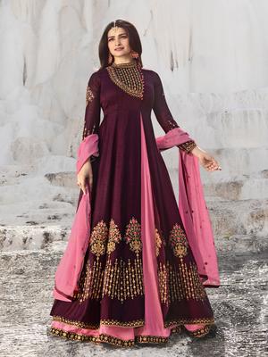 Designer Purple Embroidered Long Anarkali Suit