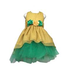 Gold plain net kids-frocks