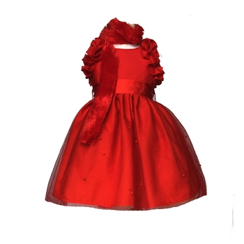 Red plain net kids-frocks