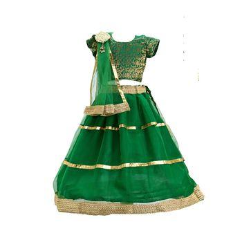 Green plain net stitched lehenga