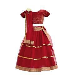 Maroon  plain net stitched lehenga