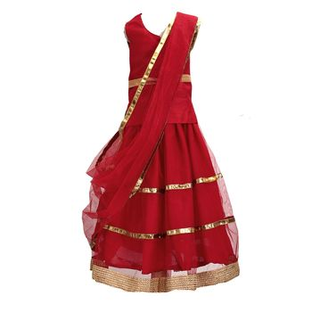 Red plain net stitched lehenga