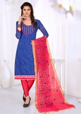 Blue embroidered cotton salwar with dupatta