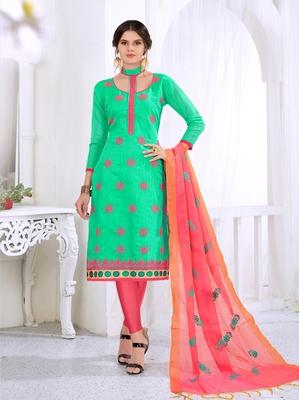 Green embroidered cotton salwar with dupatta