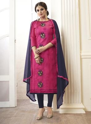 Pink embroidered cotton salwar with dupatta