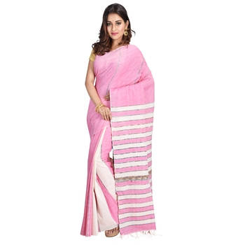 Baby pink hand woven cotton saree with blouse