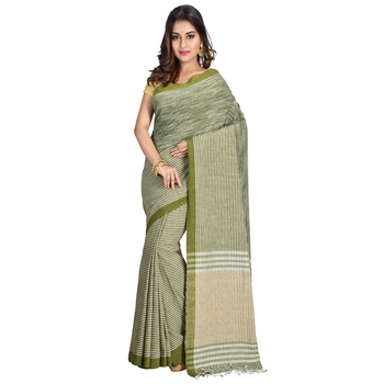 Dark green hand woven cotton saree with blouse