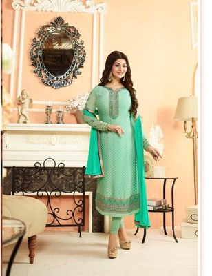 Green embroidered brasso semi stitched salwar with dupatta