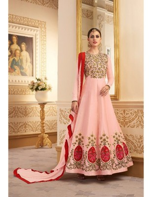 Pink embroidered maslin semi stitched salwar with dupatta