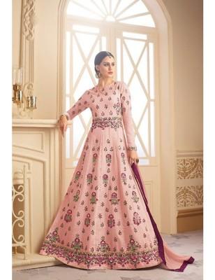 Pink embroidered fox silk semi stitched salwar with dupatta