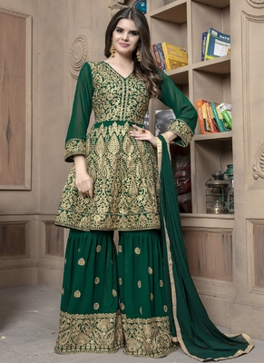 Dark-green embroidered georgette salwar with dupatta