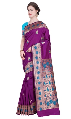 Magenta Woven Poly Silk Saree With Blouse