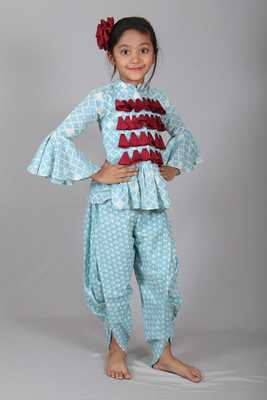 Frill sleeves Peplam top with dhoti