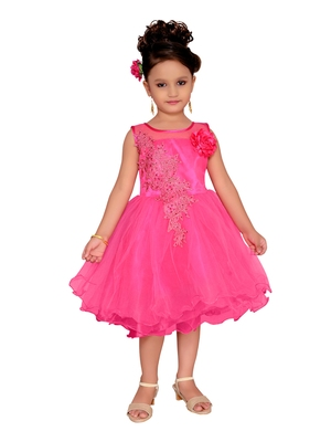 Pink Embroidered Net Kids-Frocks