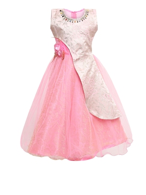 Pink Woven Net Kids Girl Gowns