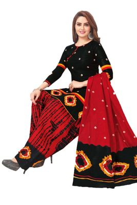 Black printed crepe salwar with dupatta