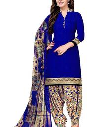 Blue printed crepe salwar with dupatta dress-material