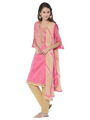 Pink Embroidered Chanderi Silk Salwar With Dupatta