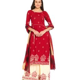 Blood-red printed crepe kameez with dupatta