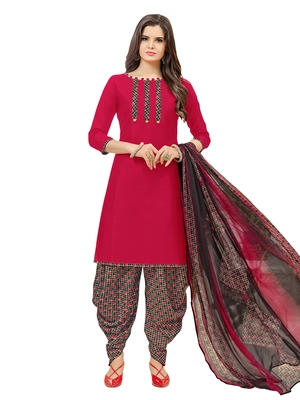 Maroon Printed Cotton Salwar With Dupatta