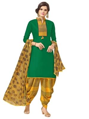 Green Printed Cotton Salwar With Dupatta