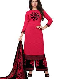 Pink printed crepe salwar with dupatta dress-material
