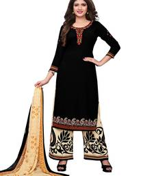 Black printed crepe salwar with dupatta