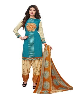 Turquoise Printed Crepe Salwar With Dupatta
