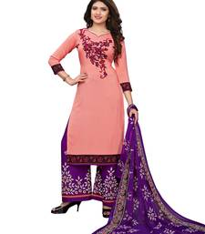Peach printed crepe salwar with dupatta dress-material