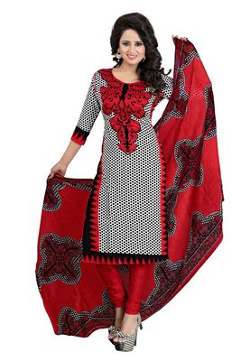Red printed crepe salwar with dupatta