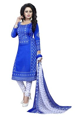 Blue printed crepe kameez with dupatta