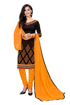 Black printed crepe salwar with duppata